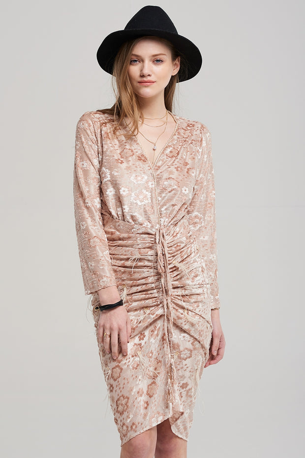 storets.com Sally Metallic Floral Print Dress