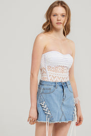 Skylar Eyelet Denim Skirt