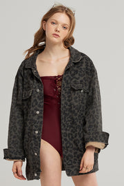 Zoe Leopard Denim Jacket