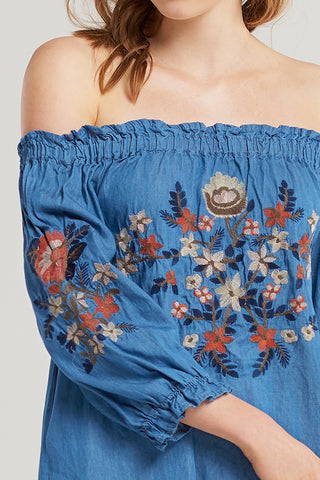 Lila Embroidered Denim Dress