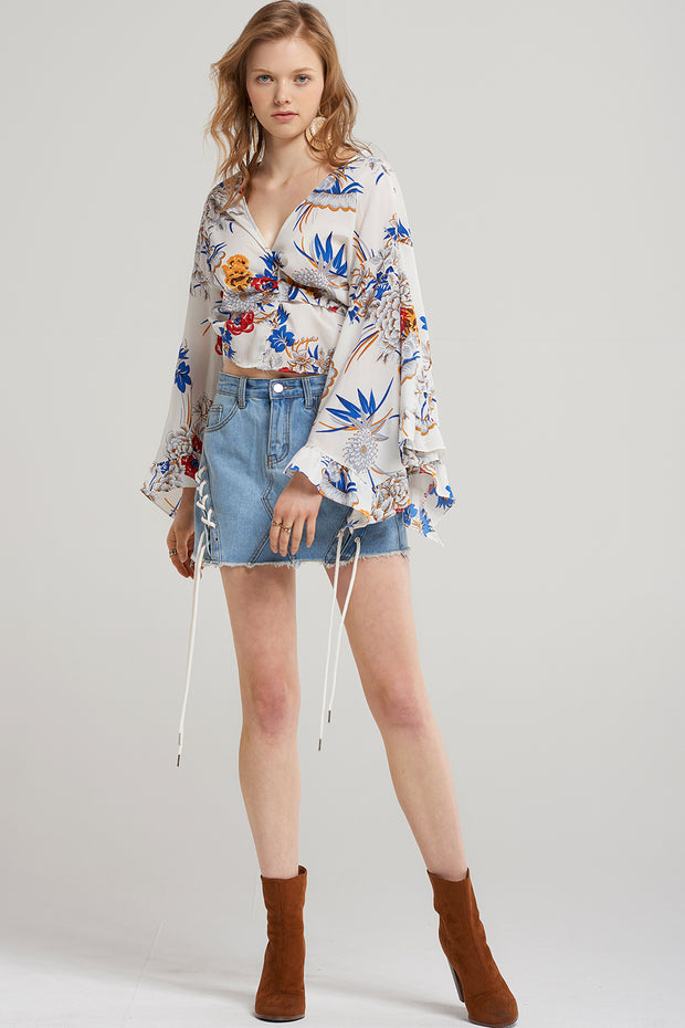 storets.com Miya Floral Tie Blouse