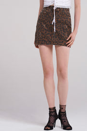 Eva Leopard Denim Skirt