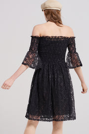 Gemma Shirred Lacy Dress