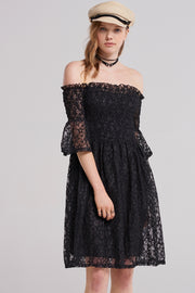 storets.com Gemma Shirred Lacy Dress