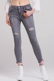 Maya Washed Gray Skinny Jeans