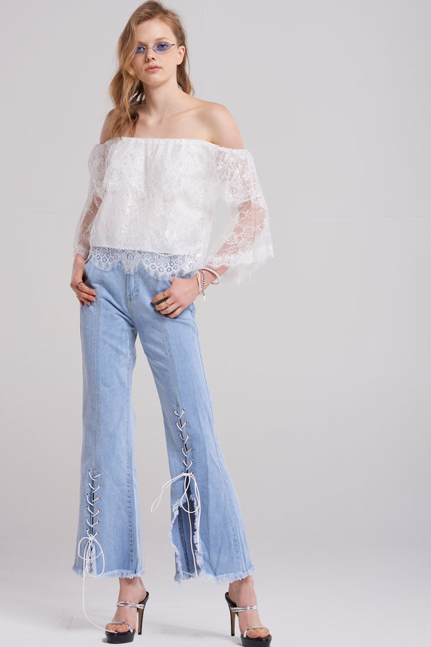 Zoe Slit Lace Up Jeans