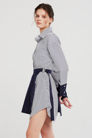 Audrey Striped Shirt And Skirt Belt Set