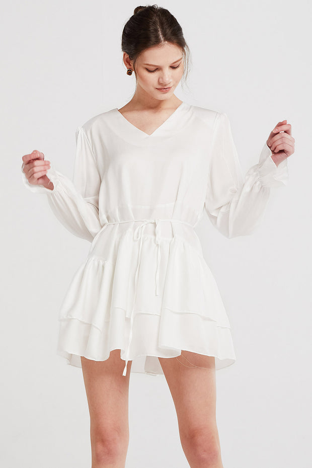 Hannah Satin Tiered Ruffle Dress