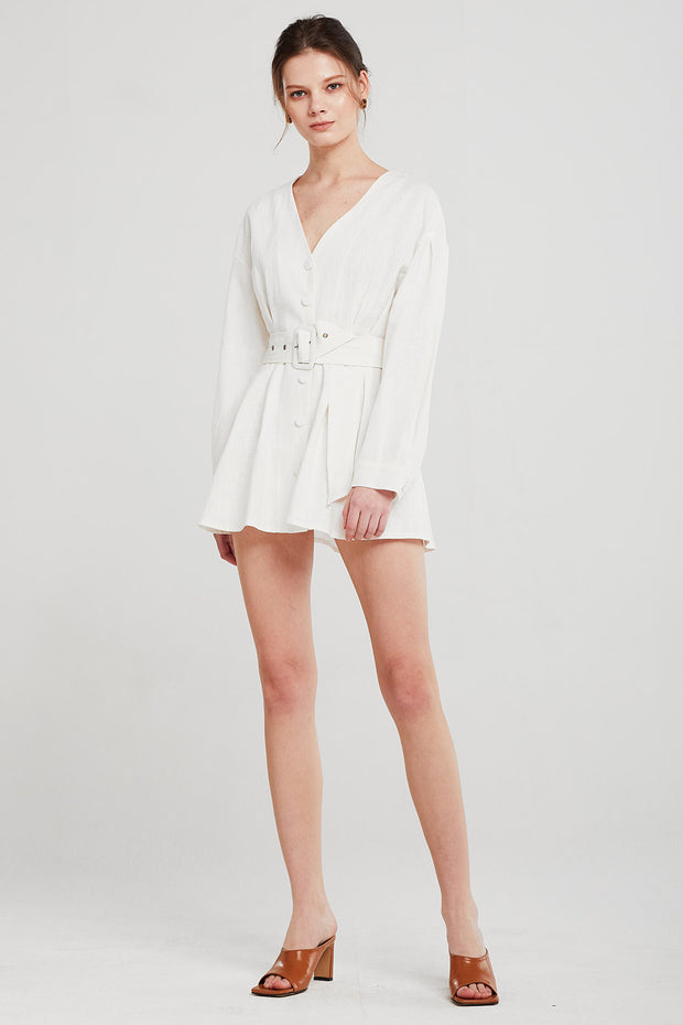 Layla Linen Belted Mini Dress
