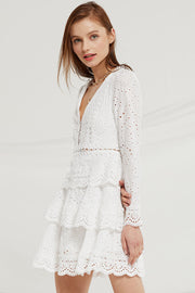 Romina Tiered Lace Ruffle Dress