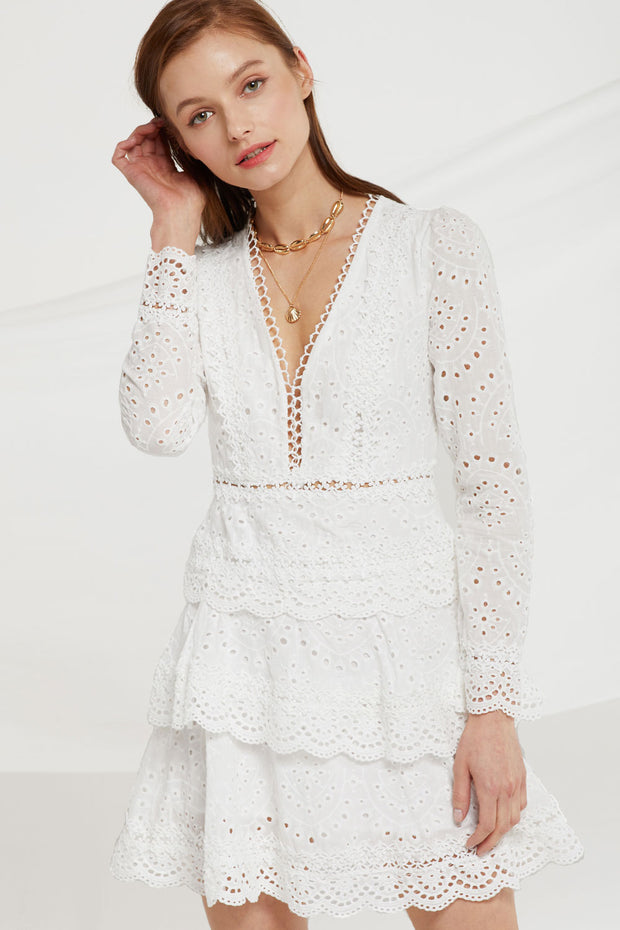 storets.com Romina Tiered Lace Ruffle Dress