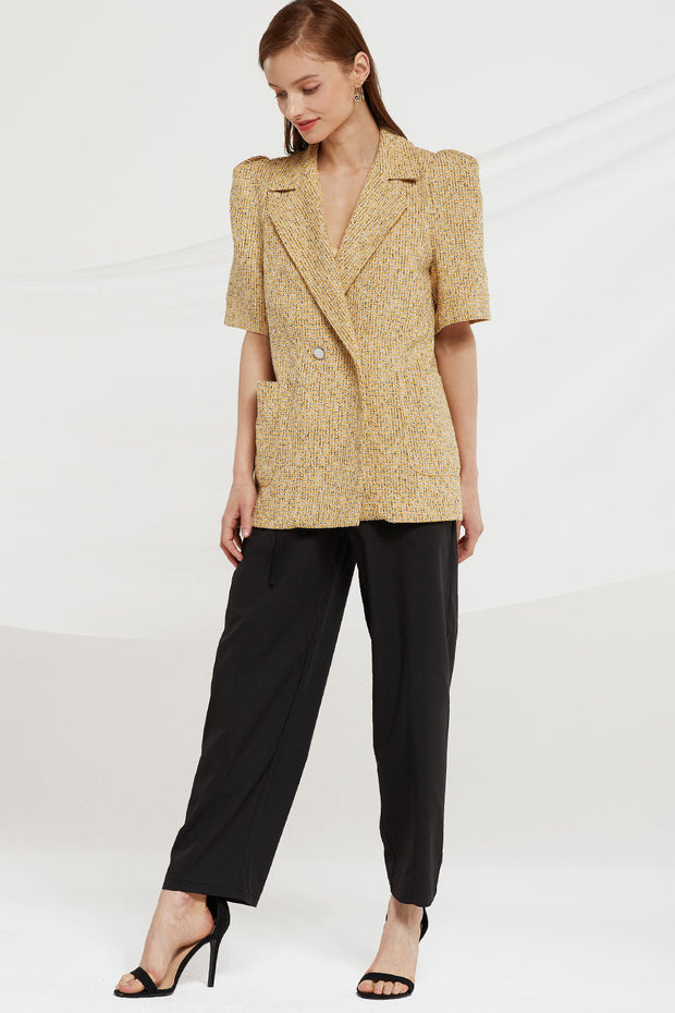 Lilianna Puff Sleeve Tweed Blazer