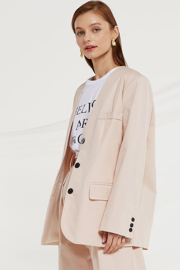 Kaylie Oversized Collarless Blazer