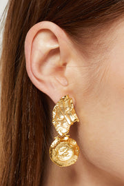 Asymmetric Hammered Drop Earrings