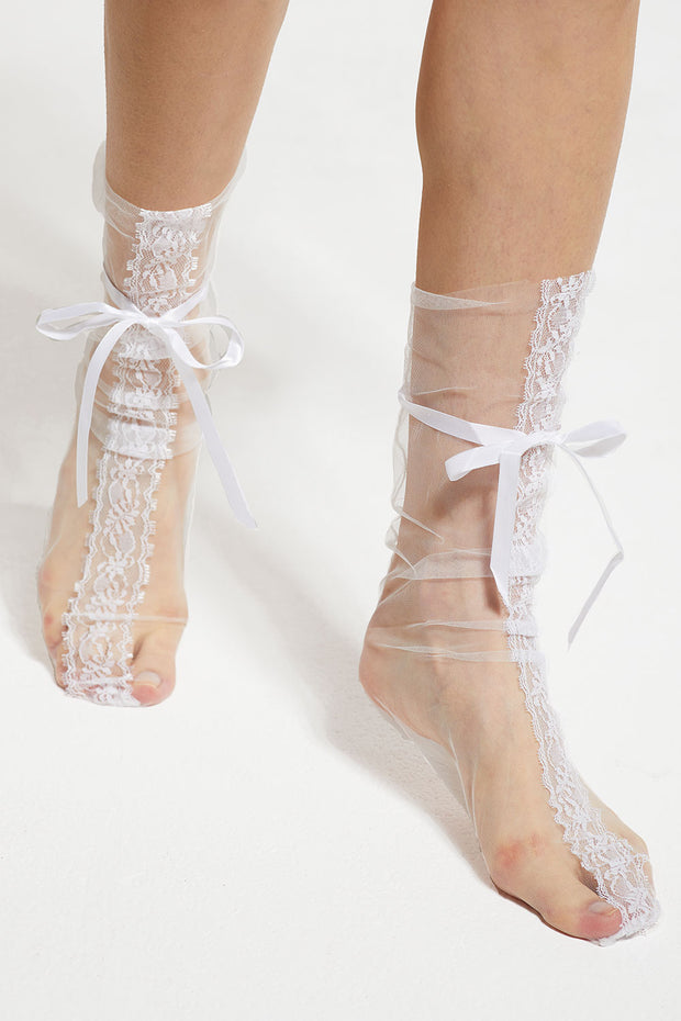Sheer Lace Socks w/ Ribbon Tie by STORETS