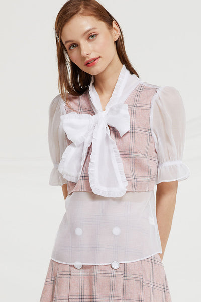 Elisa Sheer Ribbon Tie Blouse