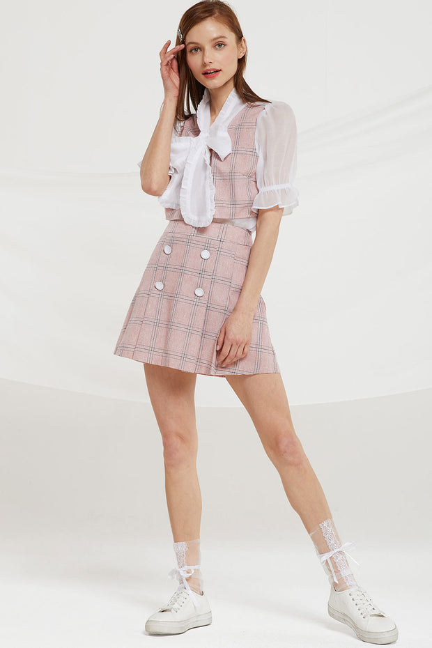 Noemie Plaid Pleats Skirt