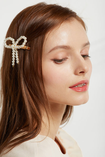 Pearl Beads Ribbon Hair Clip by STORETS