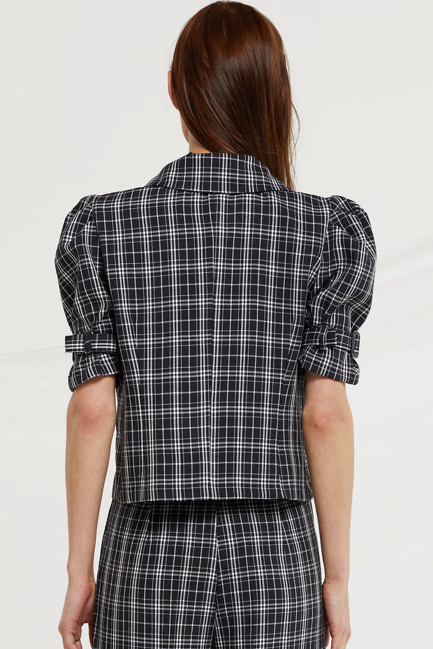 Charleigh Puff Sleeve Jacket in Check