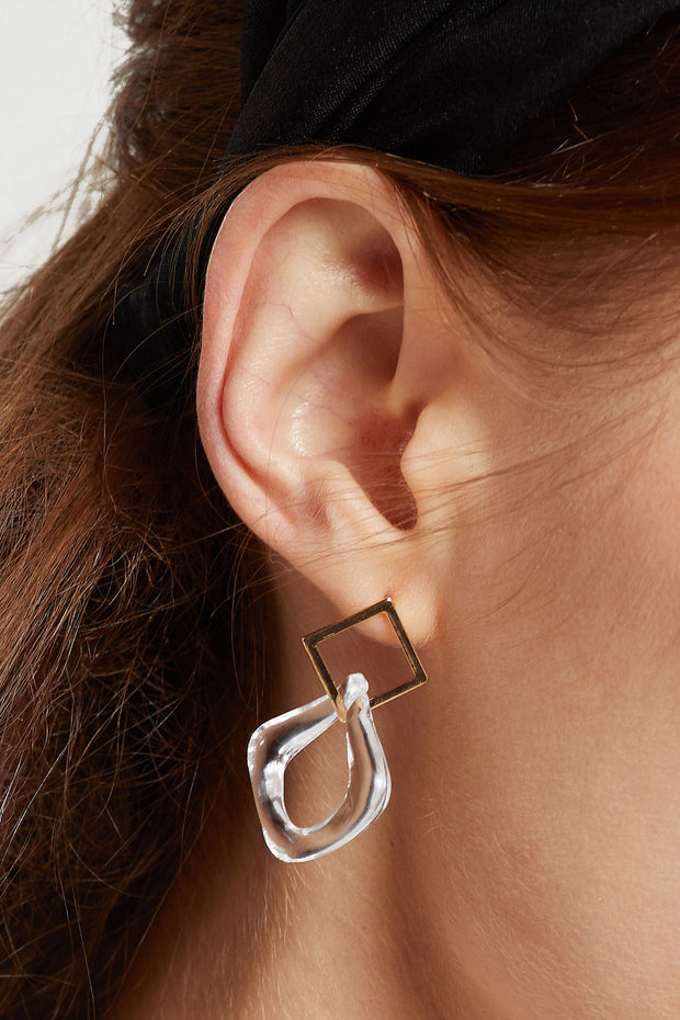 Clear Acrylic Linked Earrings