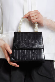 Crocodile Pattern Bag w/ Pearl Handle by STORETS
