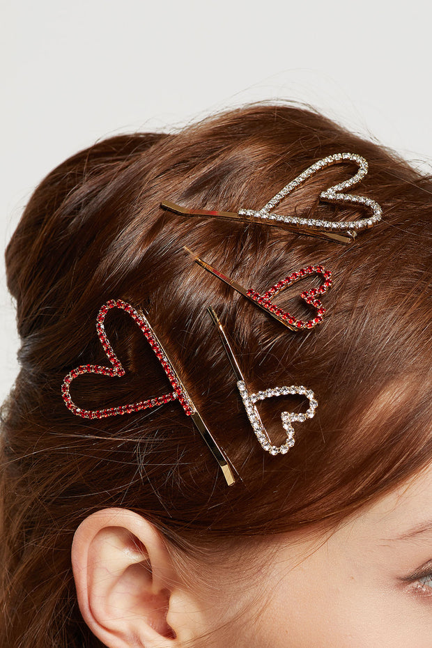 Stone Studded Heart Bobby Pin in Mini Size by STORETS