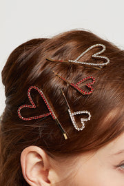 Stone Studded Heart Hair Clip by STORETS