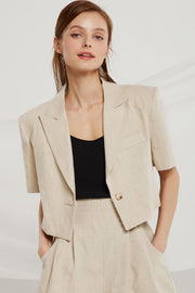 Jaelyn Cropped Linen Jacket