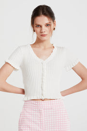 storets.com Willow Ruffle Trim Cropped Cardigan