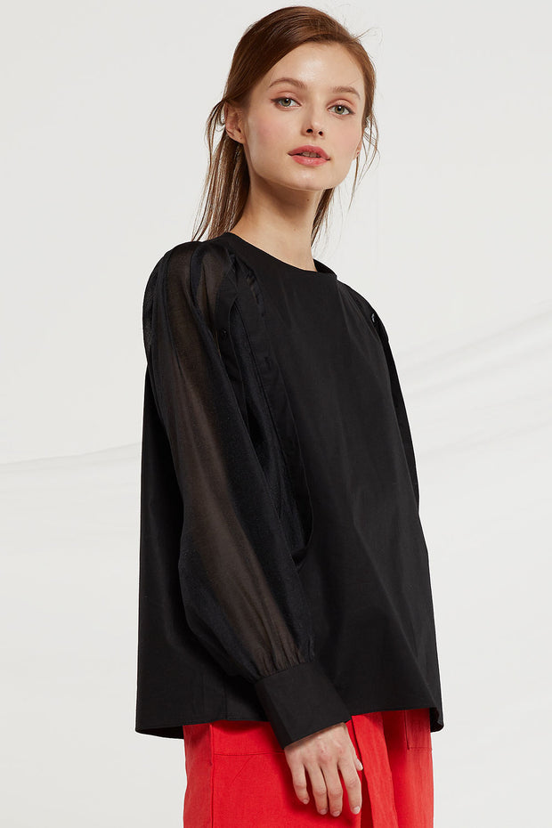 Marlee Sheer Button Sleeve Blouse