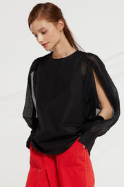 Marlee Sheer Button Sleeve Blouse by STORETS