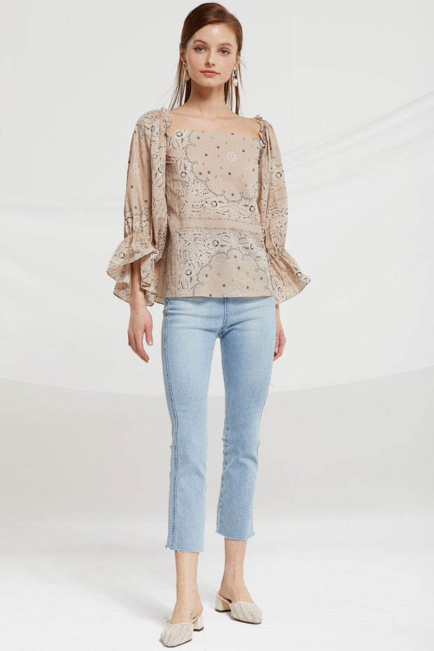 Iines Paisley Square Neck Blouse