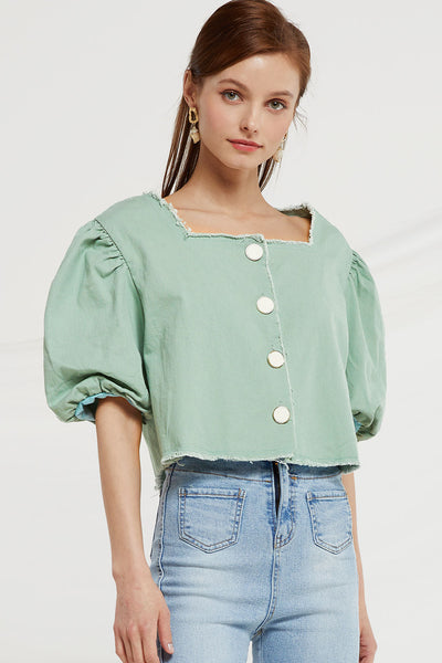 Macie Button Up Crop Top