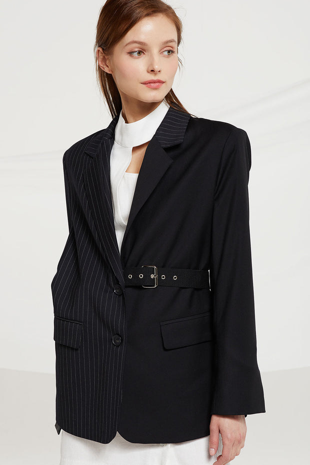 Brianna Asymmetric Pinstriped Blazer w/ Belt