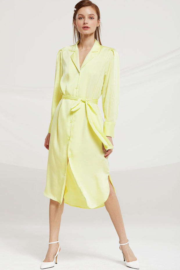 Sylvia Long Shirt Dress w/ Belt by STORETS