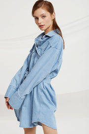 Marianna Belted Denim Shirt Dress