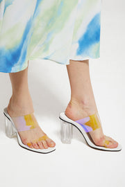 Clear PVC Band Mule Heels by STORETS