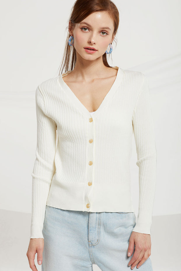 Meredith Rib-knit Cardigan by STORETS
