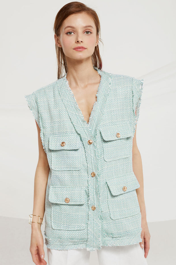 Astrid Tweed Vest Jacket