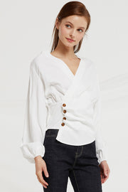 Gabby V-Neck Wrap Blouse