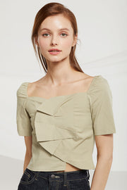 Carly Wrap Front Crop Top by STORETS