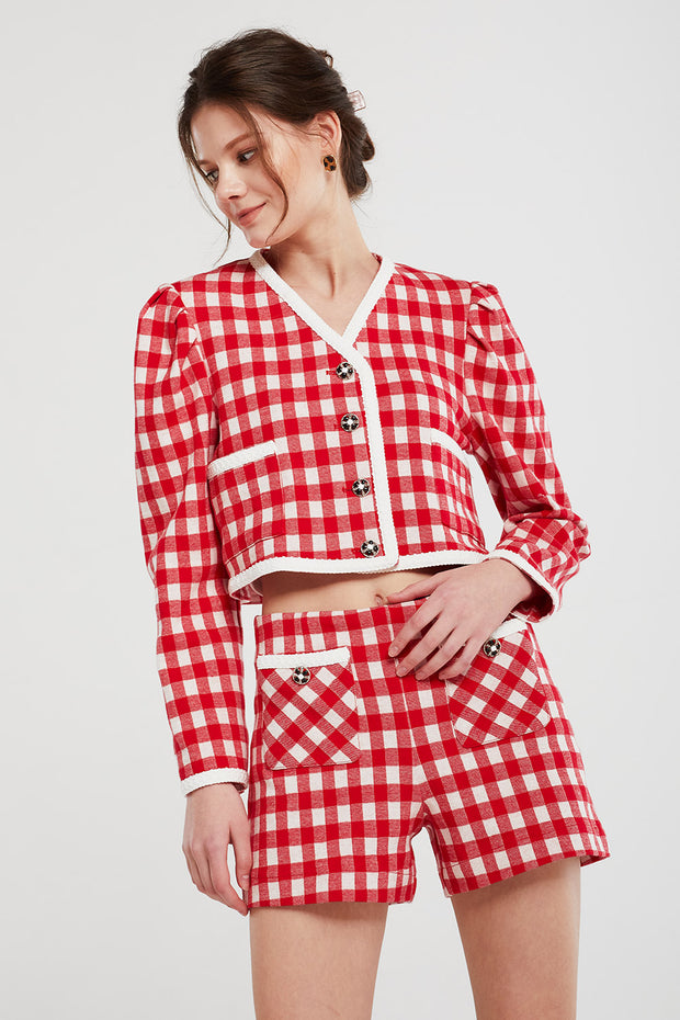 Alexa Gingham Cropped Jacket