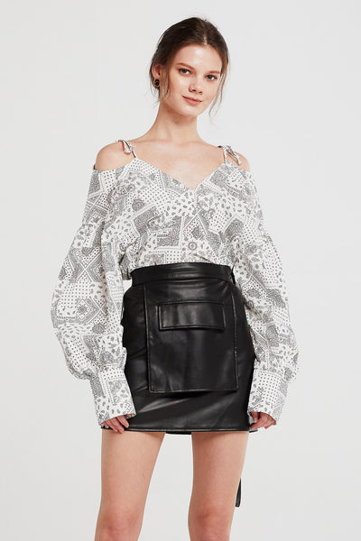 Jade Paisley Cold Shoulder Shirt