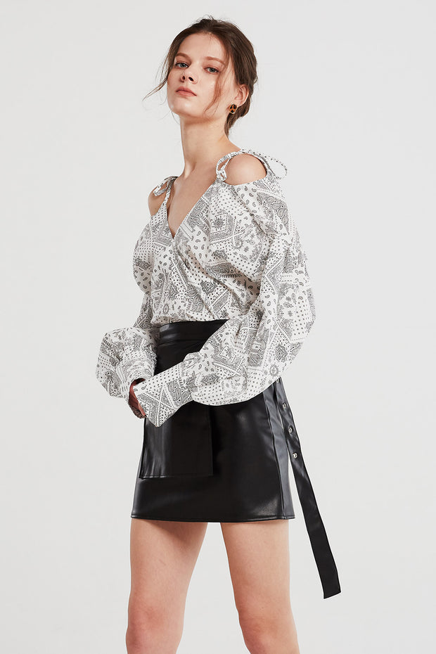 storets.com Jade Paisley Cold Shoulder Shirt