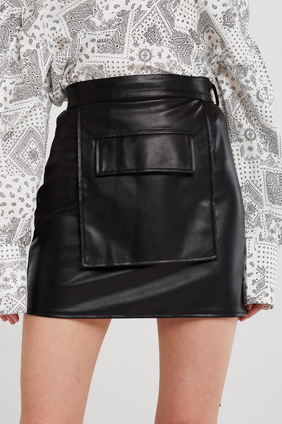 storets.com Julia Pleather Skirt And Pocket Belt Set