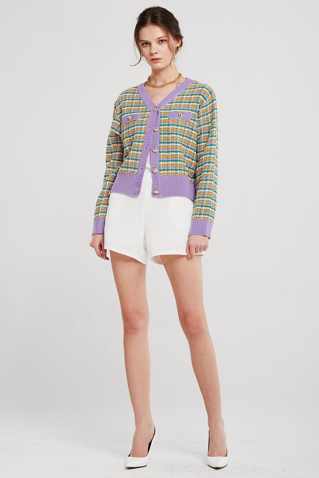Olivia Contrast Trim Knitted Cardigan