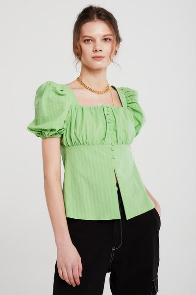 Ashley Ruched Pea Button Blouse