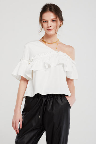Bella Cold Shoulder Ruffled Top