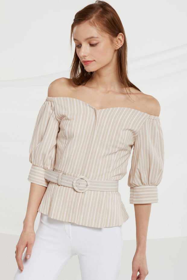 Celeste Belted Off Shoulder Top by STORETS
