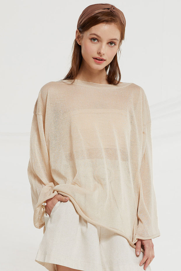 Megan Sheer Top w/ Trumpet Sleeve